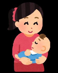赤ちゃんを抱きかかえている母親