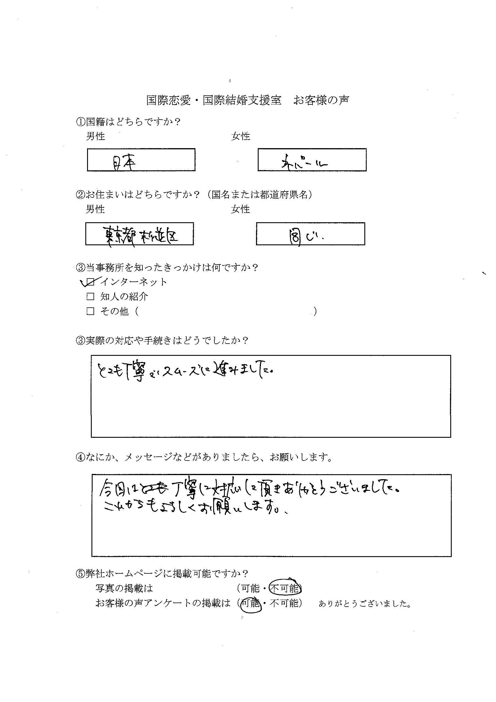 留学⇒日本人配偶者等 在留資格変更許可申請